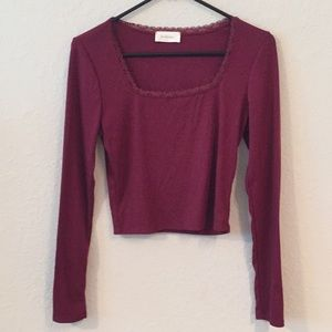 Bohme Lace Trim Ribbed Cropped Long Sleeve Top